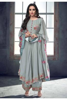 Buy Grey Colour Palazzo Indian Salwar Kameez Online