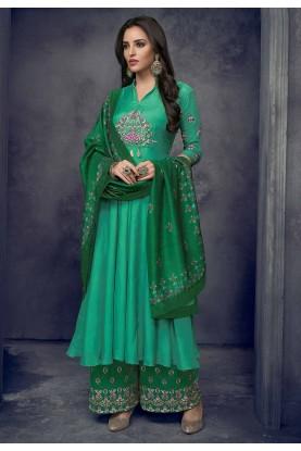 Buy Green Colour Designer Palazzo Indian Salwar Kameez Online