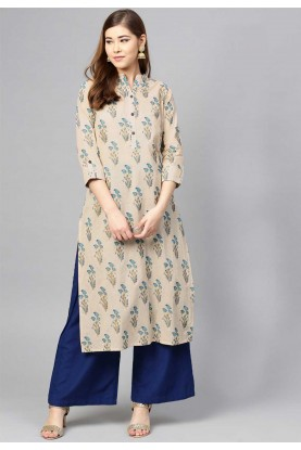 Buy Beige Colour Indian kurtis Online