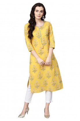 Buy Yellow Colour Indian kurtis Online