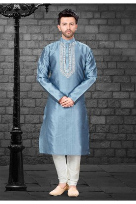 Grey,Silver Colour Kurta Pajama.