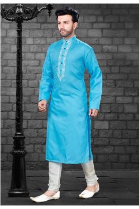 Turquoise Colour Indian Kurta Pajama for Mens