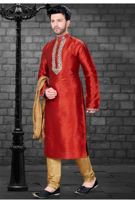Red Colour Designer Kurta Pajama.