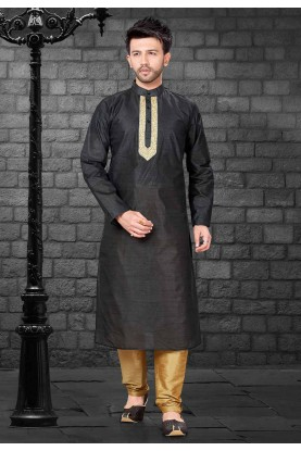 Black Colour Silk Kurta Pajama.