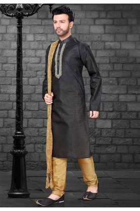 Black Colour Silk Kurta Pyjama.