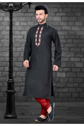 Black Colour Cotton Kurta Pajama.