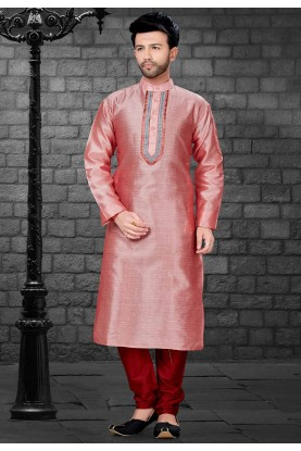 Pink,Red Colour Readymade Kurta Pajama.