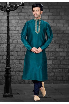 Green Colour Party Wear Kurta Pajama.