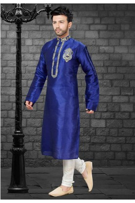Blue Colour Party Wear Kurta Pajama.