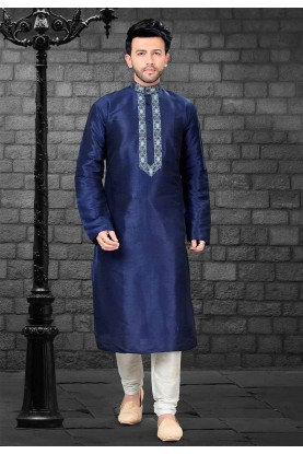 Blue Colour Readymade Kurta Pyjama.