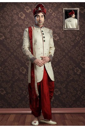 Cream Colour Dhoti Indowestern.