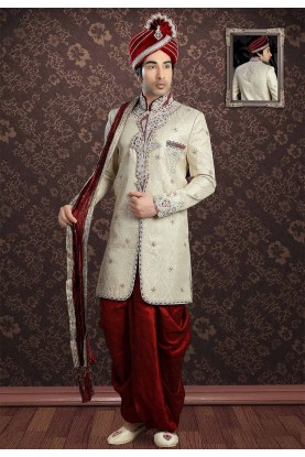 Cream Colour Dhoti Indowestern.