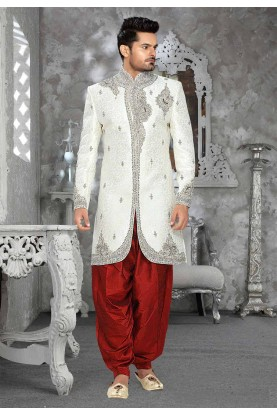 White Colour Jacquard Sherwani for men
