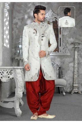 Buy designer sherwani in Off White Colour