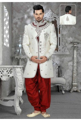 Off White Colour Brocade Sherwani for men