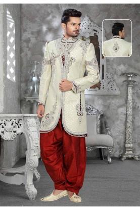 Buy sherwani online in Cream Colour online