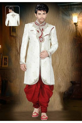 Off White Colour Sherwani for men