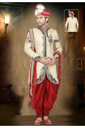 Golden Colour Wedding Sherwani for men