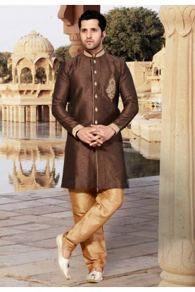 Brown Colour Indowestern Style Kurta Pajama.