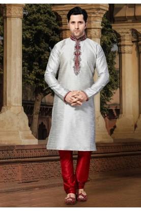 Grey,Silver Colour Designer Kurta Pajama.