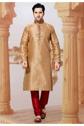 Golden Colour Silk Kurta Pajama.