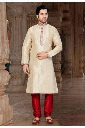 Cream Colour Readymade Kurta Pyjama.