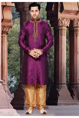 Purple Colour Designer Kurta Pyjama.