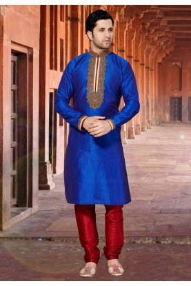 Blue Colour Dupion Silk Kurta Pajama.
