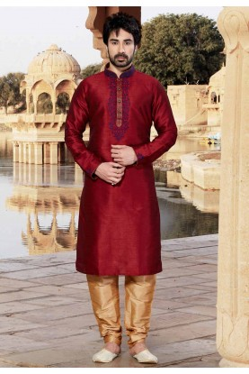 Maroon Colour Indian Designer Kurta Pajama.