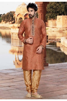 Rust Colour Readymade Kurta Pajama.