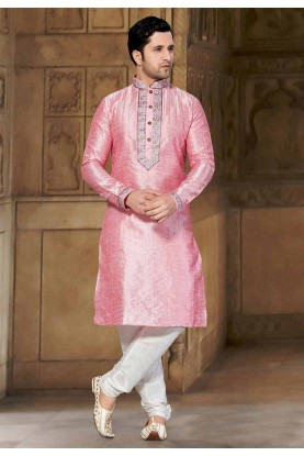 Pink Colour Readymade Kurta Pajama.