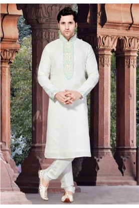 White Colour Linen Kurta Pajama.