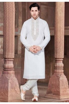 White Colour Designer Kurta Pajama.