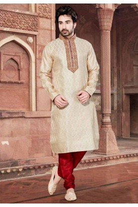 Cream Colour Brocade Kurta Pajama.