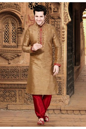 Golden,Brown Colour Silk Kurta Pajama.