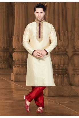Cream Colour Men's Kurta Pajama.