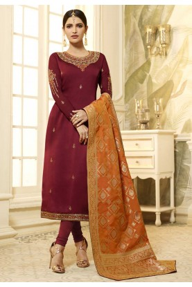 Buy Designer salwar kameez online in Maroon Colour