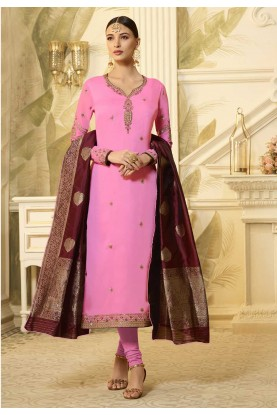 Buy Pink Colour Party Wear Designer salwar kameez online