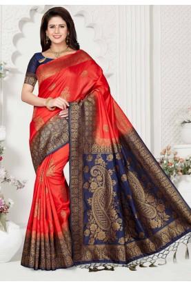 Red,Blue Colour Designer Saree.