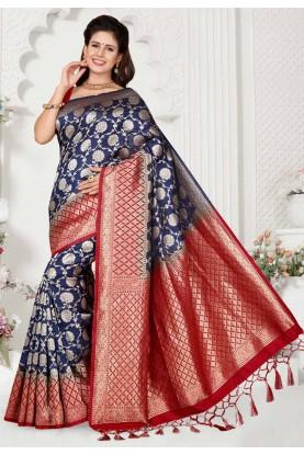 Blue,Red Colour Saree.