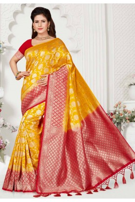 Yellow,Red Colour Indian Saree.