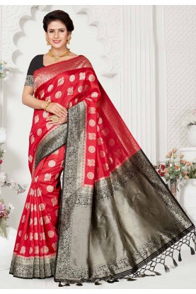 Red,Black Colour Party Wear Saree.