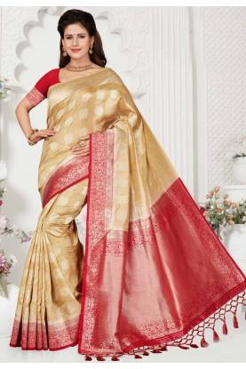 Beige Colour Indian Sari.