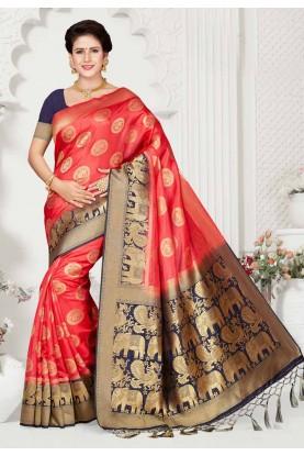 Red,Blue Colour Party Wear Sari.