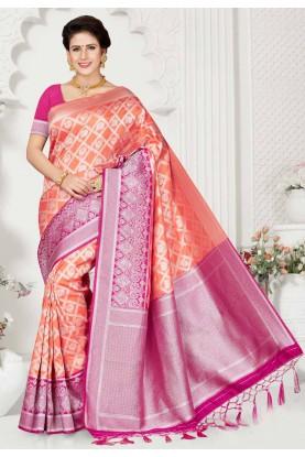 Peach,Pink Colour Designer Sari.