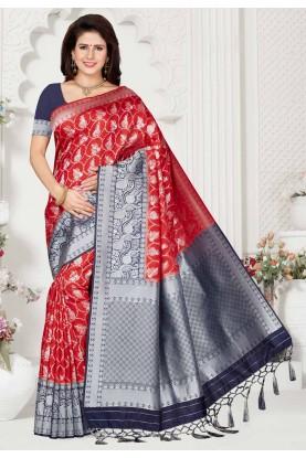 Red Colour Silk Sari.
