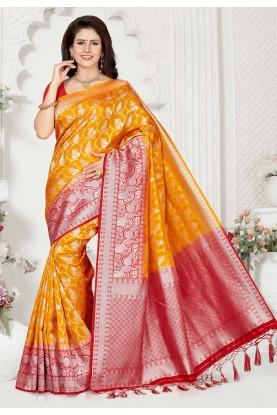 Golden,Red Colour Designer Saree.