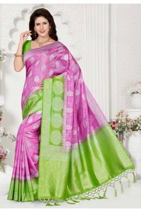 Pink,Green Colour Designer Saree.
