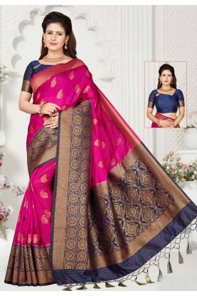 Pink,Blue Colour Indian Designer Saree.