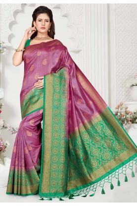 Magenta,Green Colour Saree.